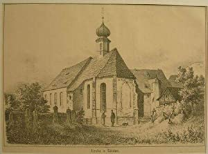 Kirche in Sölden.: Original-Kreide-Lithographie: