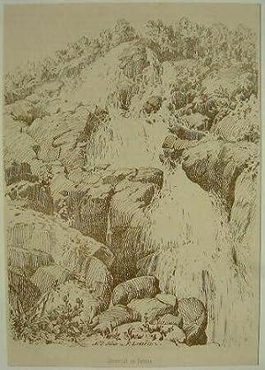 Wasserfall bei Todtnau.: Original-Feder-Lithographie: