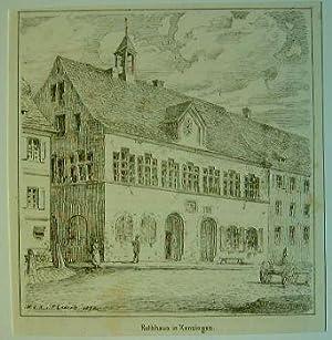 Rathaus in Kenzingen.: Original-Feder-Lithographie: