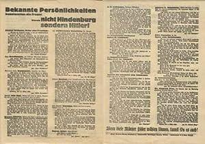 Bekannte Persönlichkeiten beantworten diese Frage: Warum nicht Hindenburg / sondern Hitler! / Wenn ...