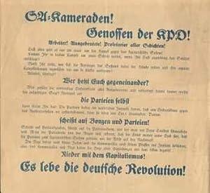 SA-Kameraden! / Genossen der KPD! /Arbeiter! Ausgebeutete! Proletarier aller Schichten! . Nieder ...