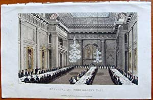 Altkolorierte Original-Aquatinta: 'Dr. Syntax at Free Mason's Hall'.: Rowlandson: