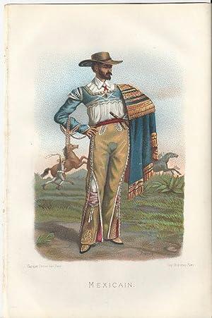 "Farbige Original-Lithographie: ""Mexicain"" von Brandin.: Original-Lithographie."