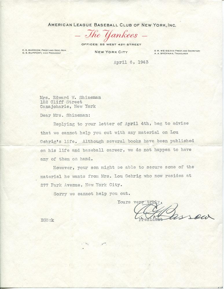 Baseball Hall Of Famer Ed Barrow Typed Letter Signed 1943 Very Good