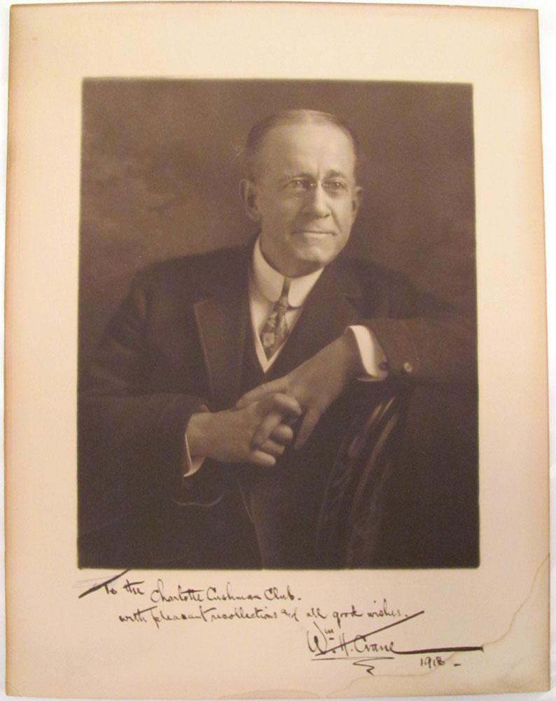 1918 Actor William H. Crane Signed Photograph Very Good American actor William H. Crane (1845-1928) boldly signed and inscribed this genial portrait photograph to the Charlotte Cushman Club in 1918. Crane f