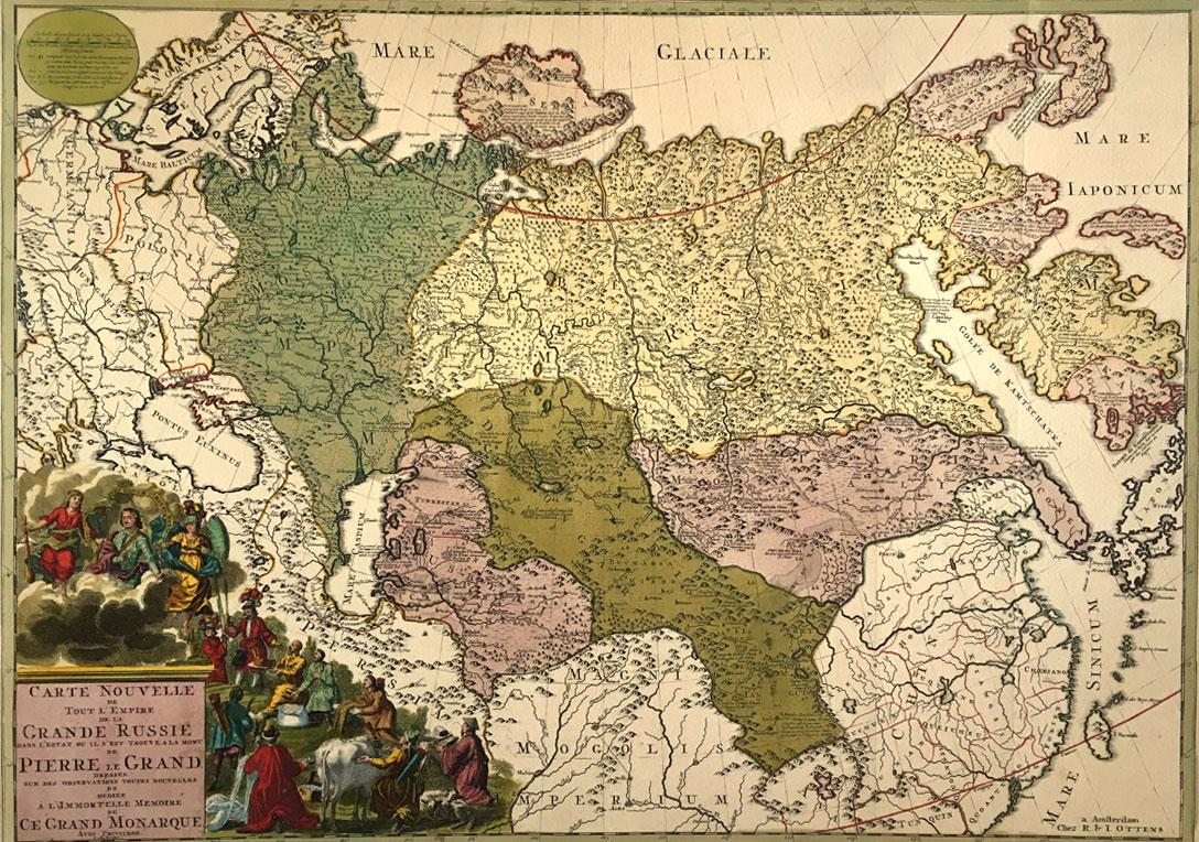 Carte Nouvelle de la Grande Russie or New Map of Grand Russia by R. and I. Ottens c. 1730 Good