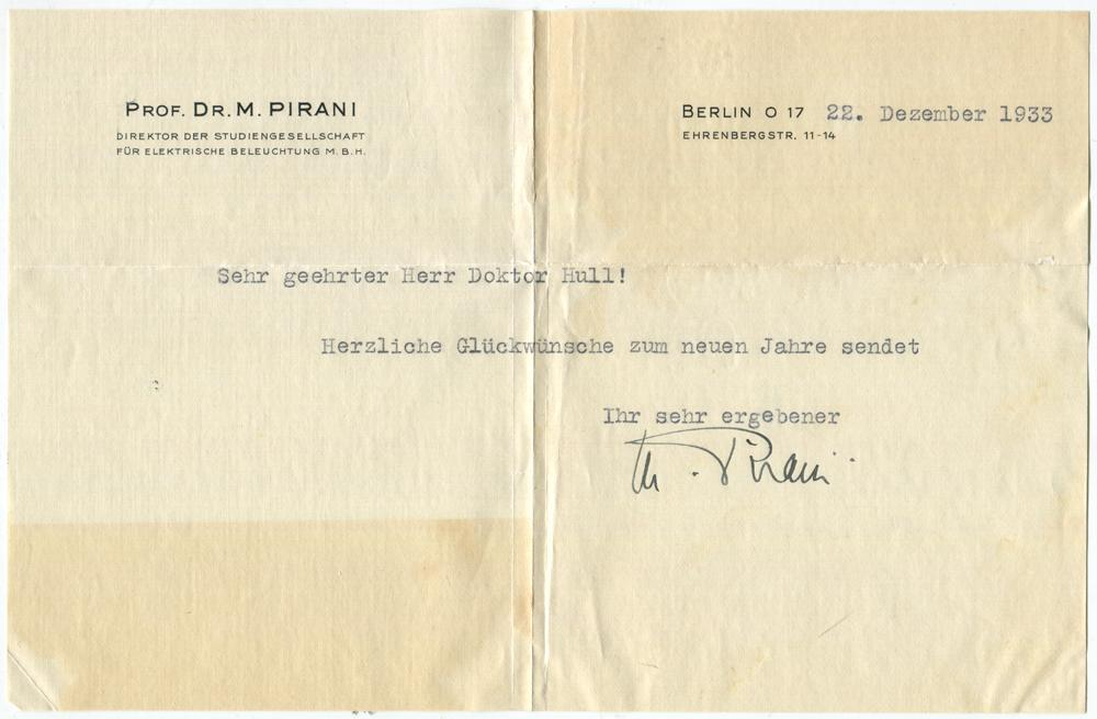 1933 German Physicist Marcello Pirani Typed