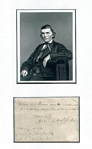 Alexander Stephens Signed Quotation 1873: Stephens, Alexander