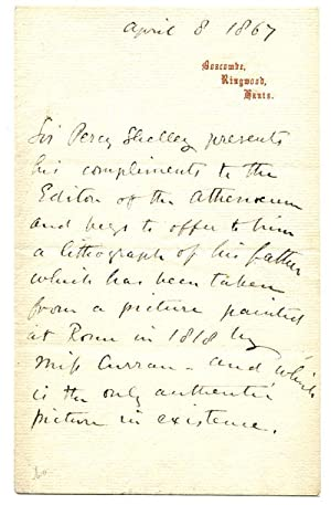 Sir Percy Florence Shelley Third Person Autograph Letter 1867: Shelley, Percy Florence