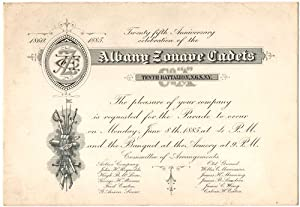 1885 Invitation to the Celebration of the 25th Anniversary of the Albany Zouave Cadets
