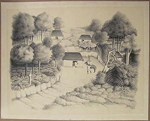 """Francisco Dosamantes Signed Lithograph """"Mayan Landscape"""": Dosamantes, Francisco"""