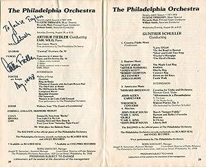 1978 Arthur Fiedler Signed Philadelphia Orchestra Program: Fiedler, Arthur