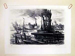 George Picken Signed East River New York City Lithograph: Picken, George