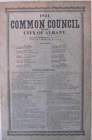 1844 Albany Common Council Broadside