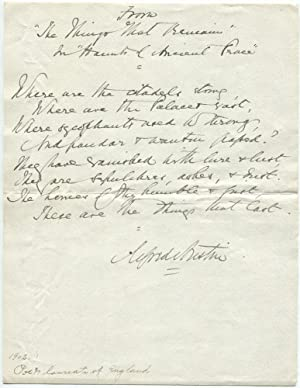 Alfred Austin, English Poet Laureate, Autograph Quotation Signed: Alfred Austin