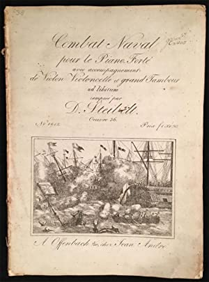 Late 18th c./early 19th c. Illustrated Engraved Sheet Music for  Combat Naval  by Steibelt