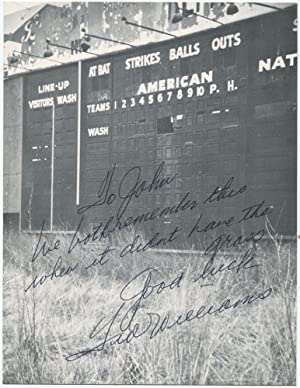 Ted Williams Autograph Note Signed on Griffith Stadium Photograph