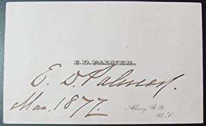 Erastus Dow Palmer Signed Business Card 1872: Palmer, Erastus Dow