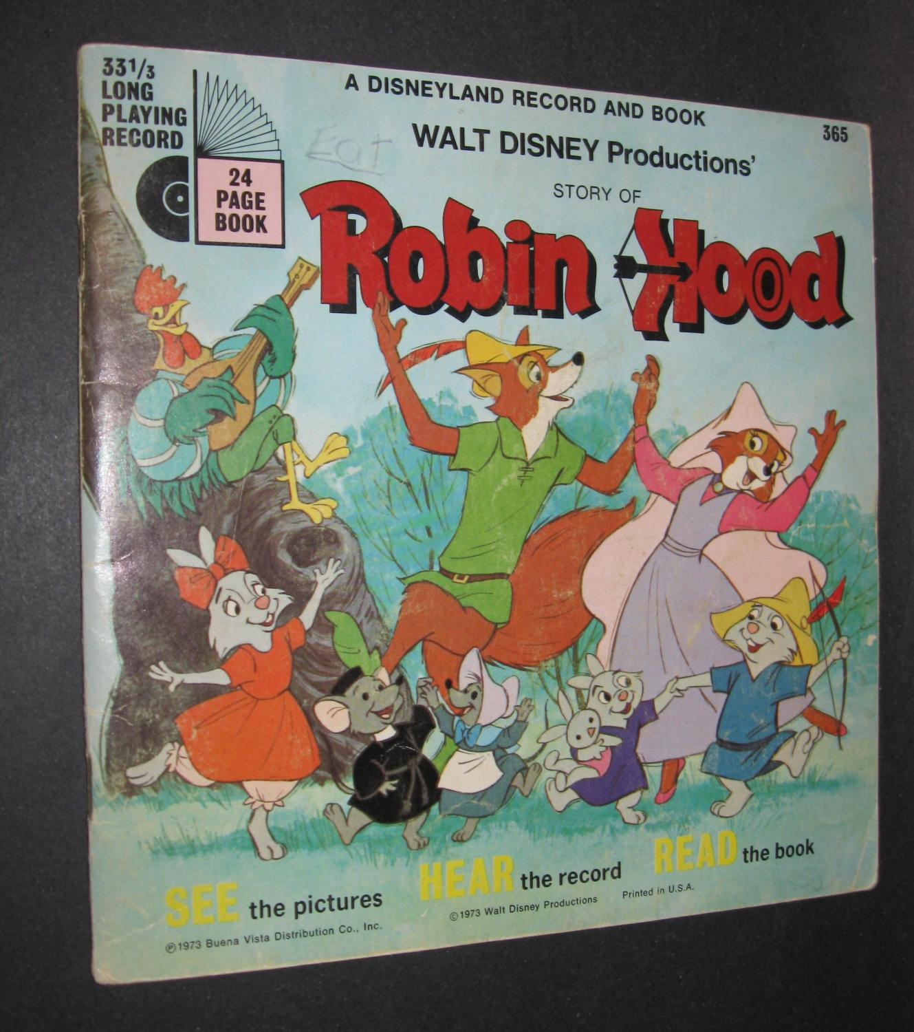 Walt Disney Productions Story Of Robin Hood Book And Record