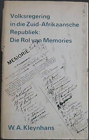 Volksregering in die Zuid - Afrikaansche Republiek: Kleynhans, W.A.