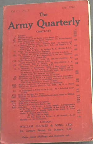 The Army Quarterly: July 1922