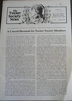 The Turner Society News: No 20, January 1981