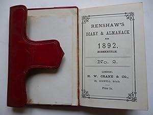 Renshaw's Diary & Almanack for 1892: MANUSCRIPT DIARY .