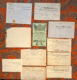 Collection of Eleven 19th C Caftsman's Billheads from the estate of George W. Jewett Staten Island