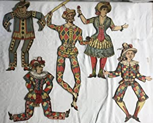 Group of 5 Late 19th C French Pantine Articulated Lithograph Harlequin Dolls