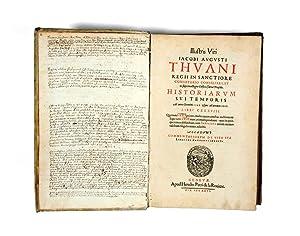 Historiarum sui Temporis.: DE THOU, Jacques
