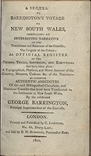A Sequel to Barrington's Voyage to New: BARRINGTON, George, falsely