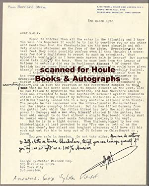 Important Typed Letter Signed: SHAW, George Bernard