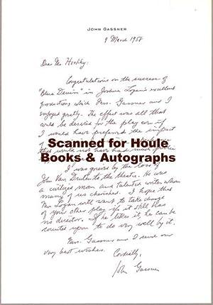 Autograph Letter Signed: GASSNER, John