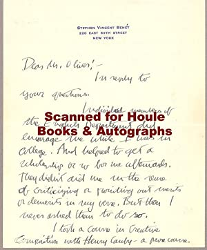 Autograph Letter Boldly Signed (Advice to a Young Writer)