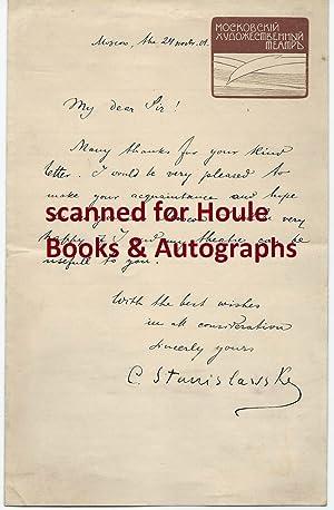 Autograph Letter Signed: Konstantin Stanislavski (aka