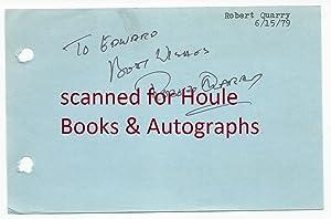 Autograph Sentiment Signed: Quarry, Robert