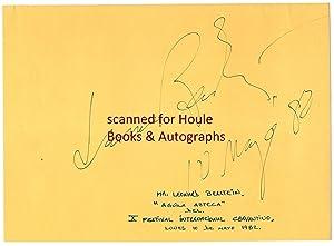 Huge, Bold Signature and dated in green: Bernstein, Leonard