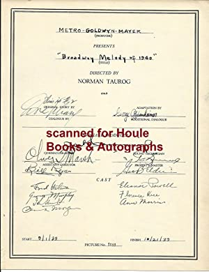 Document Signed by 25 of the Cast and Crew of the 1940 MGM Musical Extravaganza