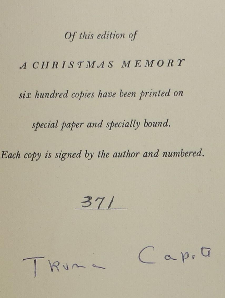 A Christmas Memory by Capote, Truman: Random House Hardcover ...