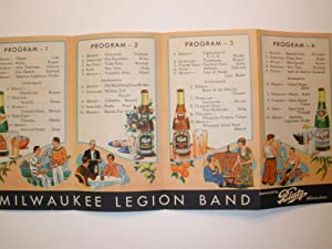 MILWAUKEE LEGION BAND PROGRAM: Blatz Brewing Company