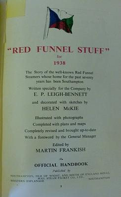 Red Funnel Stuff ' For 1938: The Story Of The Well-Known Red Funnel Steamers Whose Home For ...