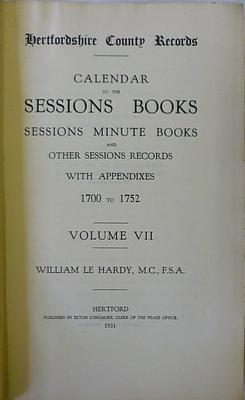 Calendar to the Sessions Books and Sessions Minute Books and Other Sessions Records with Appendixes...