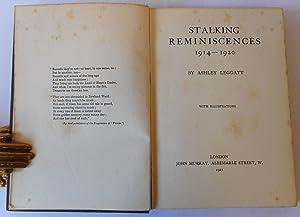 Stalking Reminiscences 1914-1920: LEGGATT Ashley