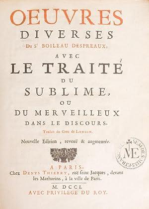 Oeuvres diverses . avec le traité du: BOILEAU-DESPRÉAUX, (Nicolas).