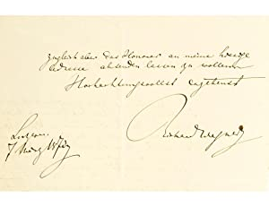 Autograph letter on paper, signed and dated.