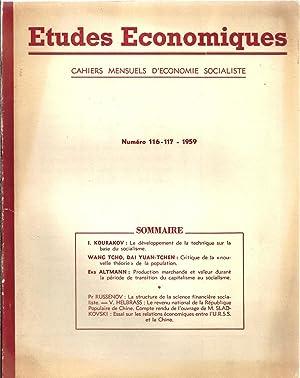 Etudes économiques 116-117. 1959: I. Kourakov - Wang Tcho - Dai Yuan-Tchen - Eva Altmann