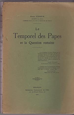 Le temporel des papes et la question romaine