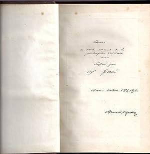 Cours de Droit naturel ou la Philosophie du Droit. Manuscrit relié.: C. T. A. Torné