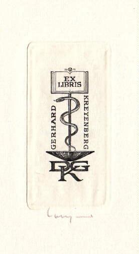 Exlibris für Gerhard Kreyenberg. Original-Kupferstich von Oswin: Volkamer, Oswin -