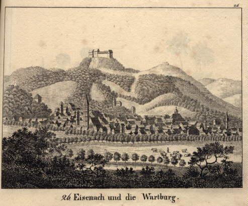 Gesamtansicht. Lithographie aus : Neue Bildergallerie für: Eisenach und die